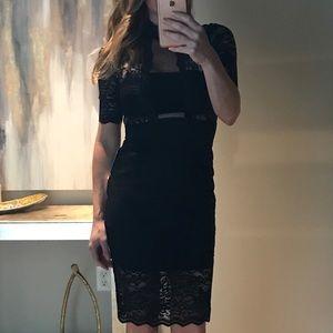 Express. Black lace body con dress
